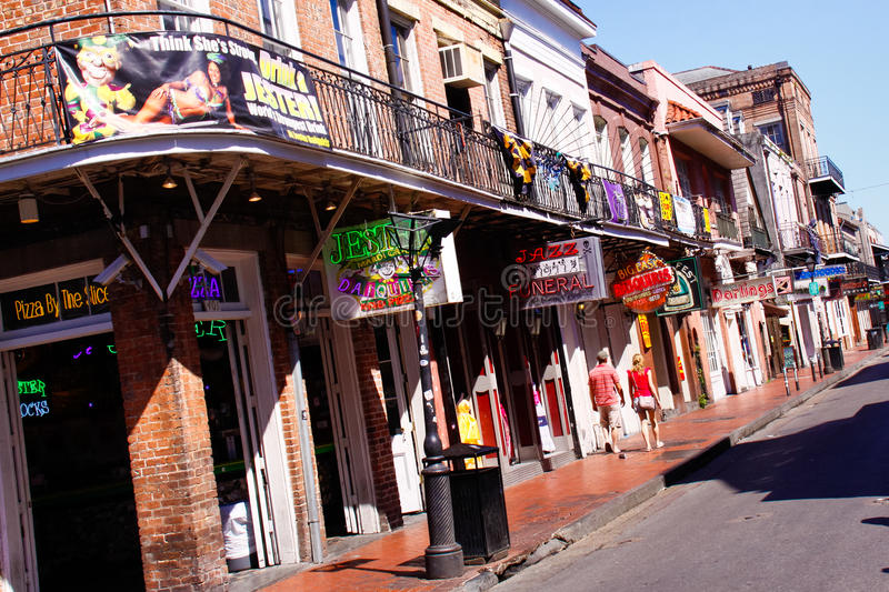 New Orleans Bourbon Street Jesters by Day stock images