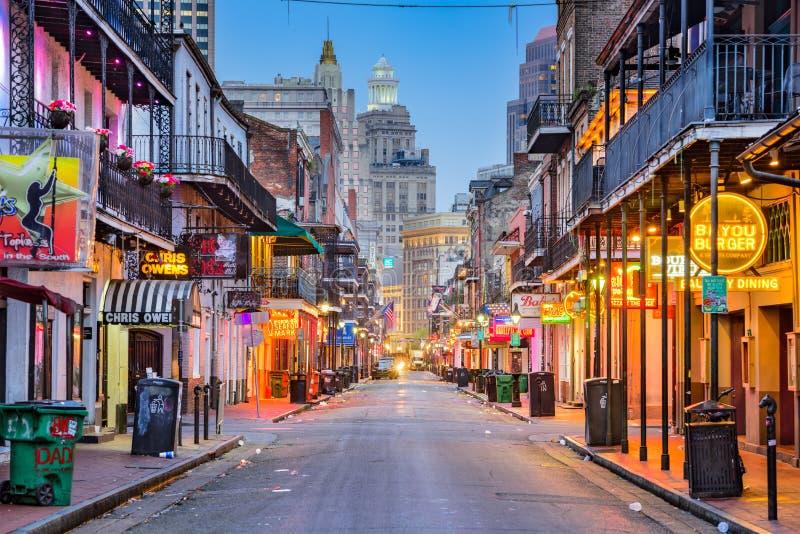New Orleans bourbongata royaltyfria bilder
