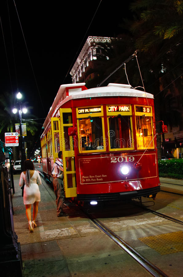 New Orleans Canal St. Street Car at Night