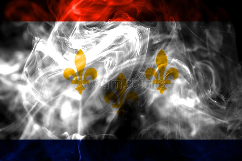 New Orleans city smoke flag, Louisiana State, United States Of A. Merica royalty free stock photo