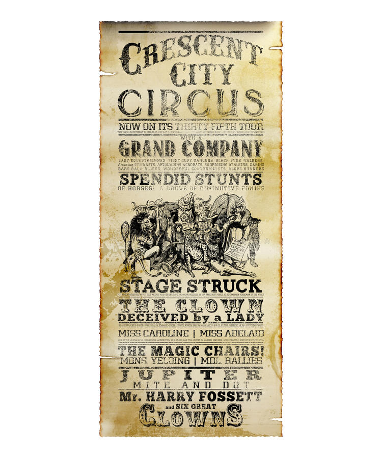 New Orleans Crescent City Circus Flyer. Vintage Antique Style Theater Flyer New Orleans royalty free stock photography