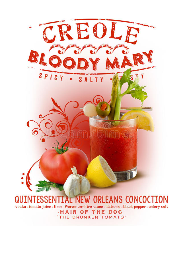 New Orleans Culture Collection Creole Bloody Mary. Spicy Salty Tasty Drunken Tomato Juice Lemon royalty free stock images