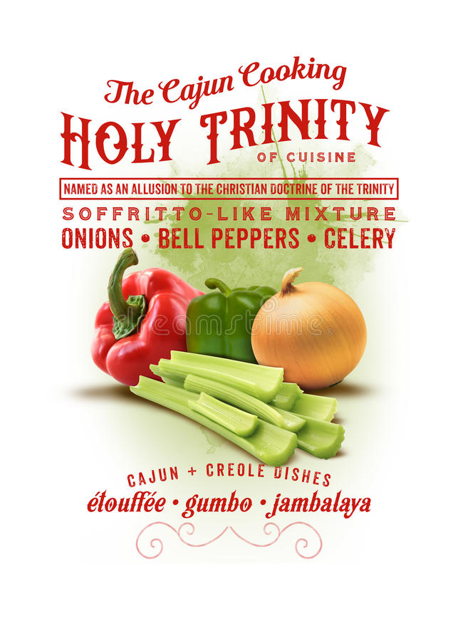 New Orleans Culture Collection Holy Trinity of Cajun Cooking vector illustration