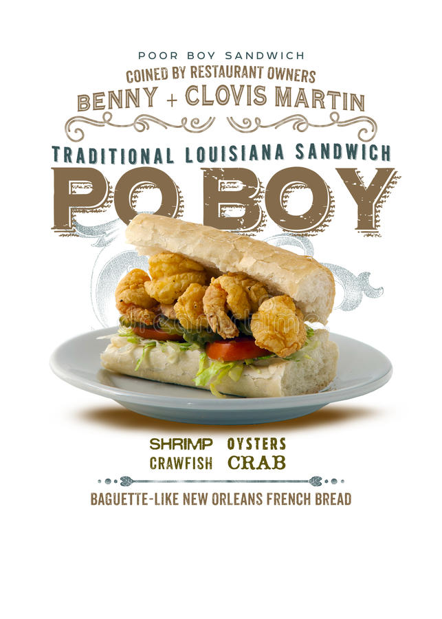 New Orleans Culture Collection PoBoy Sandwich. Traditional Louisiana Lunch Shrimp Crawfish Oysters Crab French Bread stock photo