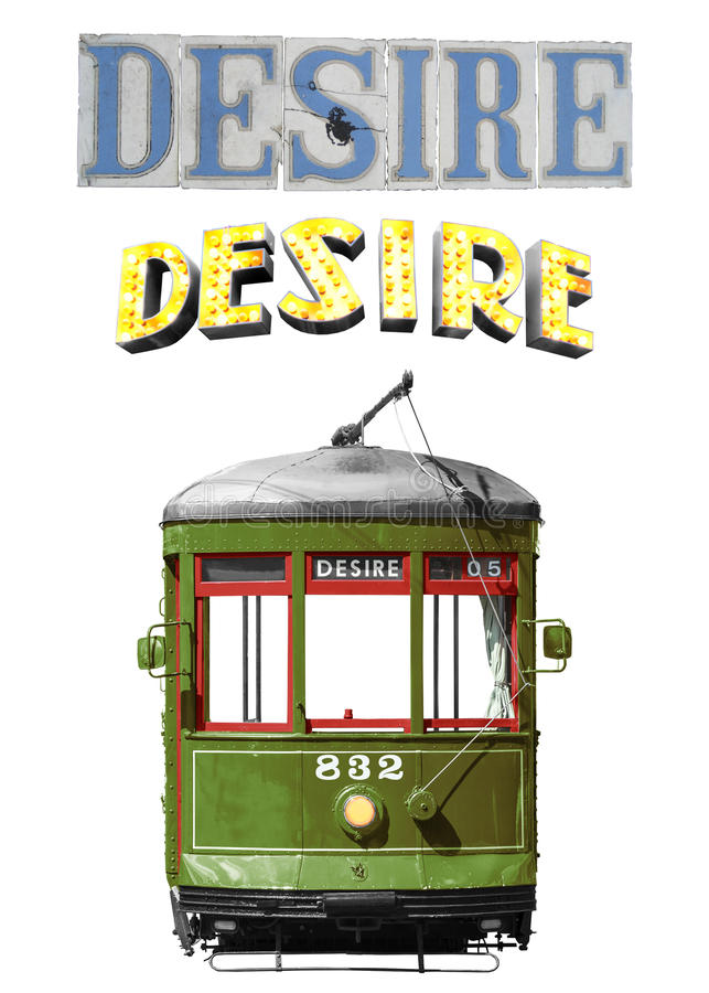 New Orleans Desire Streetcar. Isolated on white classic New Orleans legendary streetcar named Desire digital recreation plus sign marquee and street tiles vector illustration