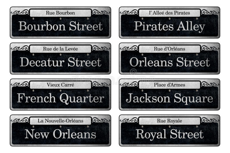 New Orleans Famous Street Signs Digital Scrapbook Elements. On each historic street of the French Quarter, black and white signs boast the infamous names of the vector illustration