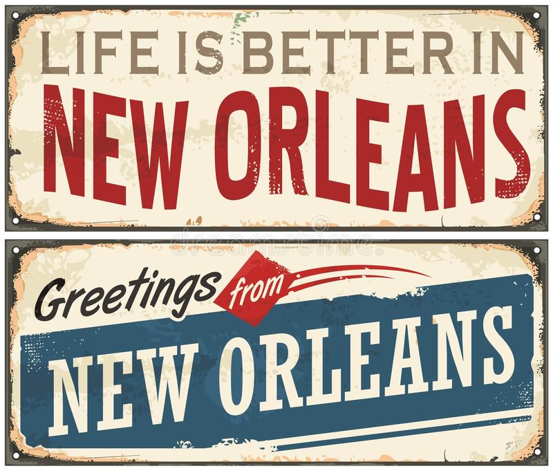 New Orleans Florida retro tenn- tecken stock illustrationer