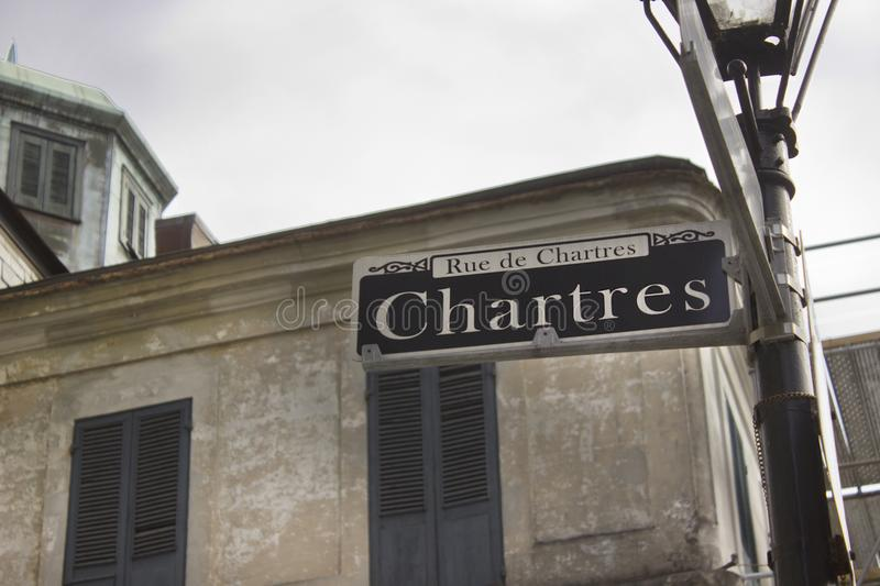 New Orleans French Quarter Chartres Sign royalty free stock photography