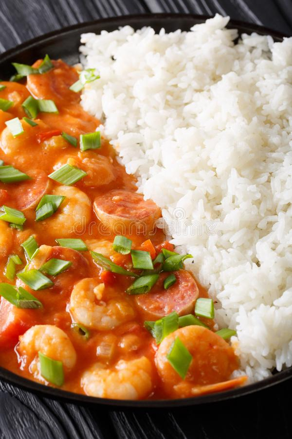New Orleans gambo with shrimps and sausage close-up in a plate. royalty free stock photos