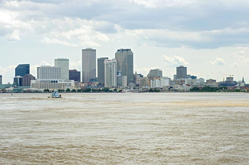 New Orleans Harbor and Downtown Skyline royalty free stock image