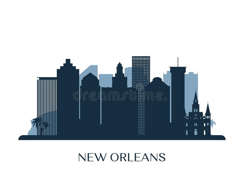 New Orleans horisont, monokrom kontur royaltyfri illustrationer