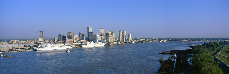 New Orleans horisont, soluppgång, Louisiana arkivbild