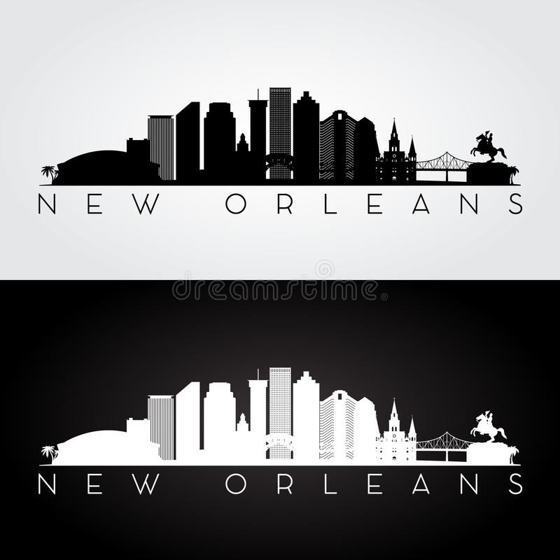 New Orleans horisontkontur stock illustrationer