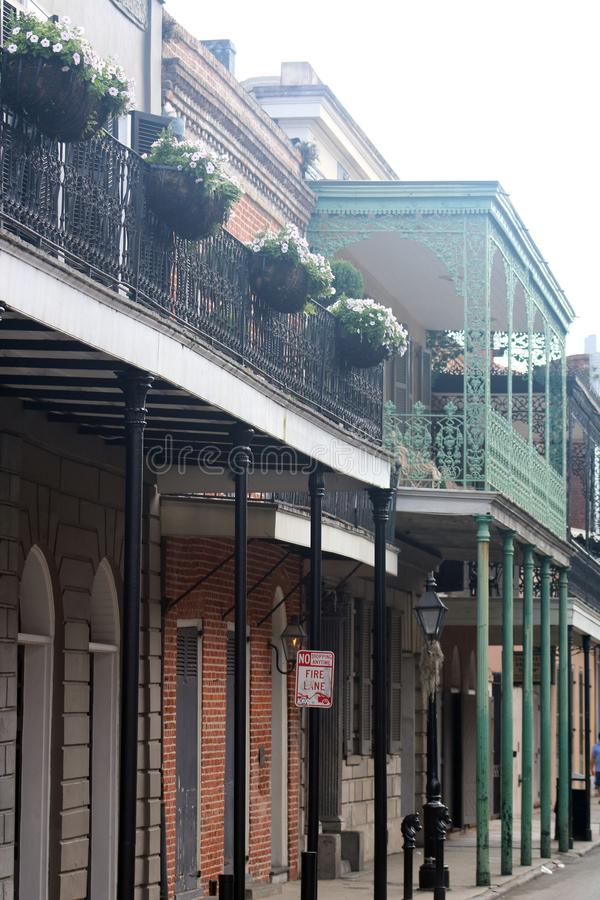 New Orleans Houses vintage balconies. Of the death city stock images