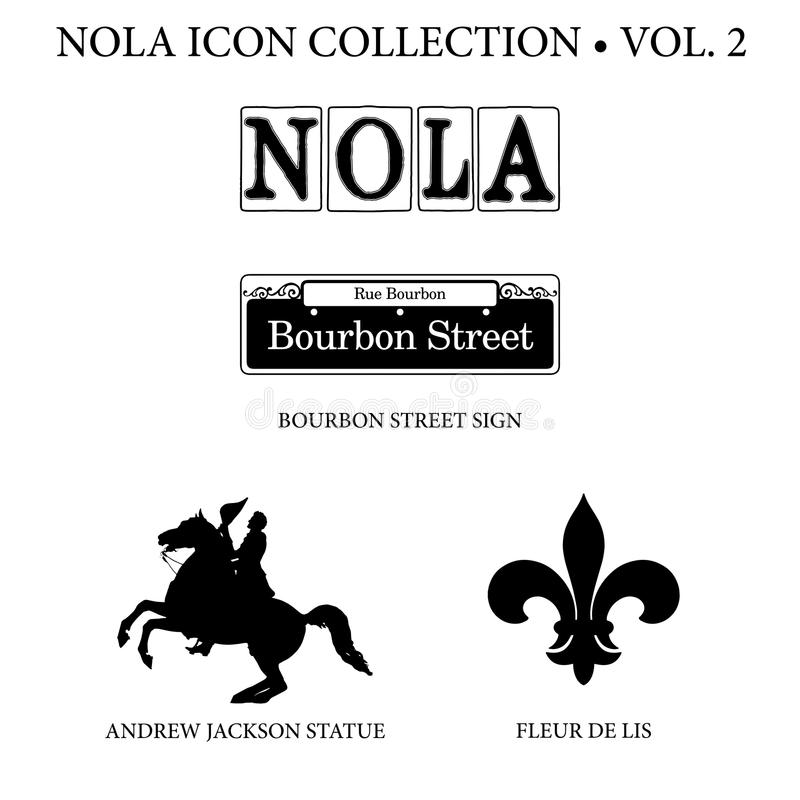 New Orleans Icon Collection. With NOLA street tiles, Bourbon Street sign, Andrew Jackson horse statue, and fleur de lis symbol royalty free stock photo