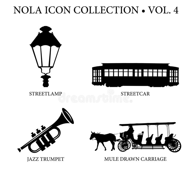 New Orleans Icon Collection. With street lamp light, streetcar, jazz trumpet instrument musical, and mule drawn carriage ride royalty free stock photography