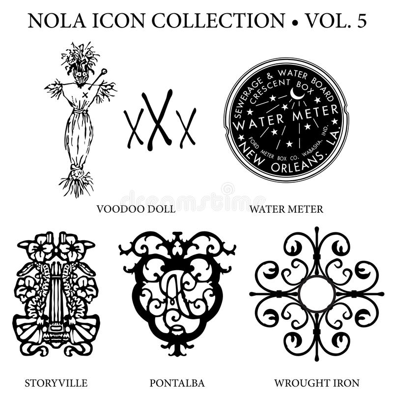 New Orleans Icon Collection. With Voodoo doll and symbols, water meter iconic, Storyville blue book symbol, Pontalba crest, and wrought iron balcony ornate stock photography