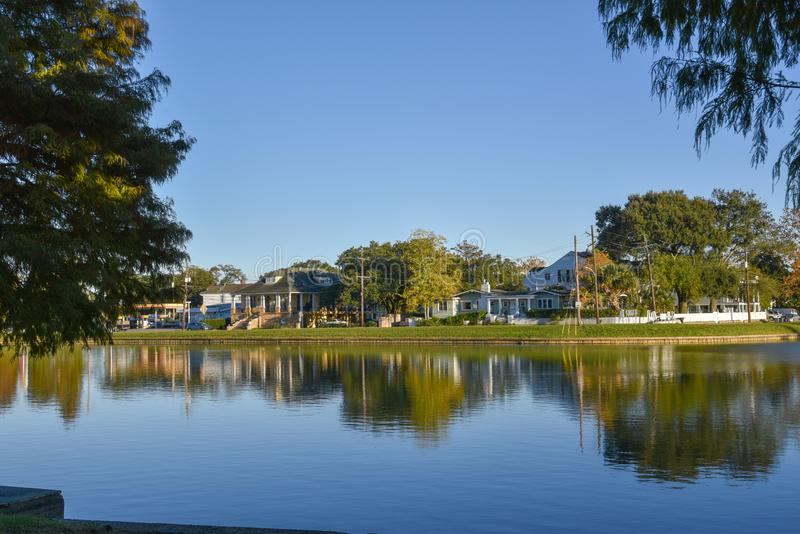 Typical houses in the Bayou St. John of New Orleans (USA royalty free stock photo