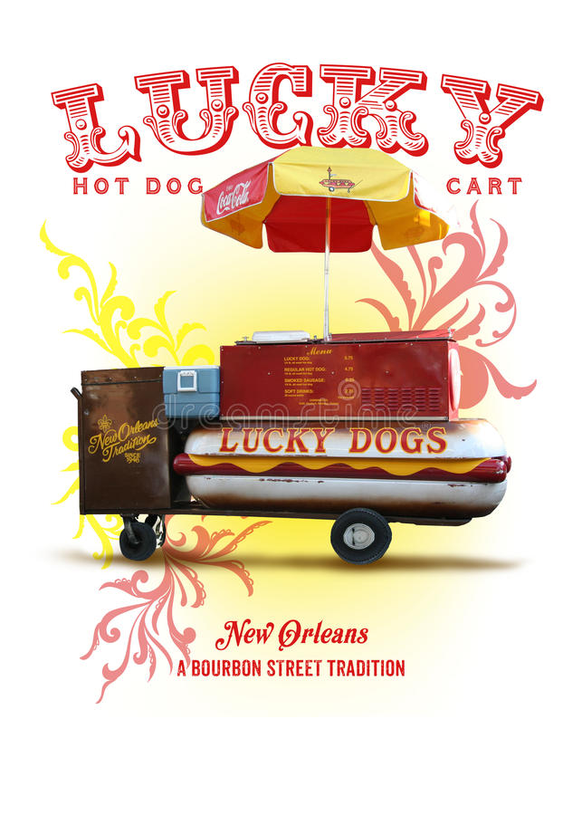 New Orleans kultursamling Lucky Dog Hot Dog Cart vektor illustrationer