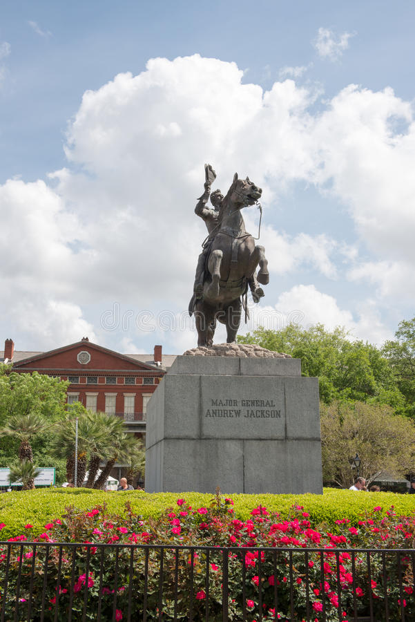 NEW ORLEANS, LA - 13. APRIL: Statue von Andrew Jackson bei Jackson Square New Orleans am 13. April 2014 lizenzfreie stockfotos