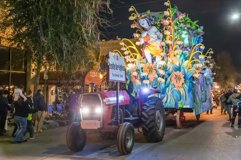 New Orleans, LA/USA - circa February 2016: The Divine Child in parade during Mardi Gras in New Orleans, Louisiana stock photo