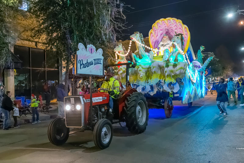 New Orleans, LA/USA - circa February 2016: Krewe of Proteus in parade during Mardi Gras in New Orleans, Louisiana royalty free stock images