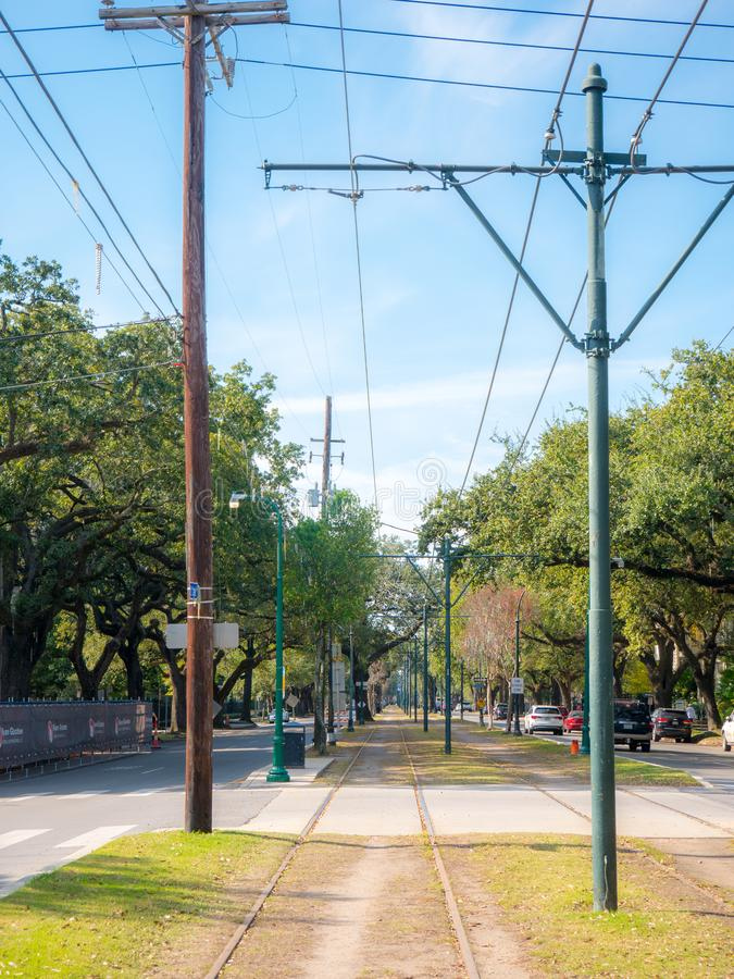 New Orleans, LA, USA. December, 2019. A vertical photo looking down St Charles Avenue in the Central Business District of New. Orleans, LA royalty free stock photos