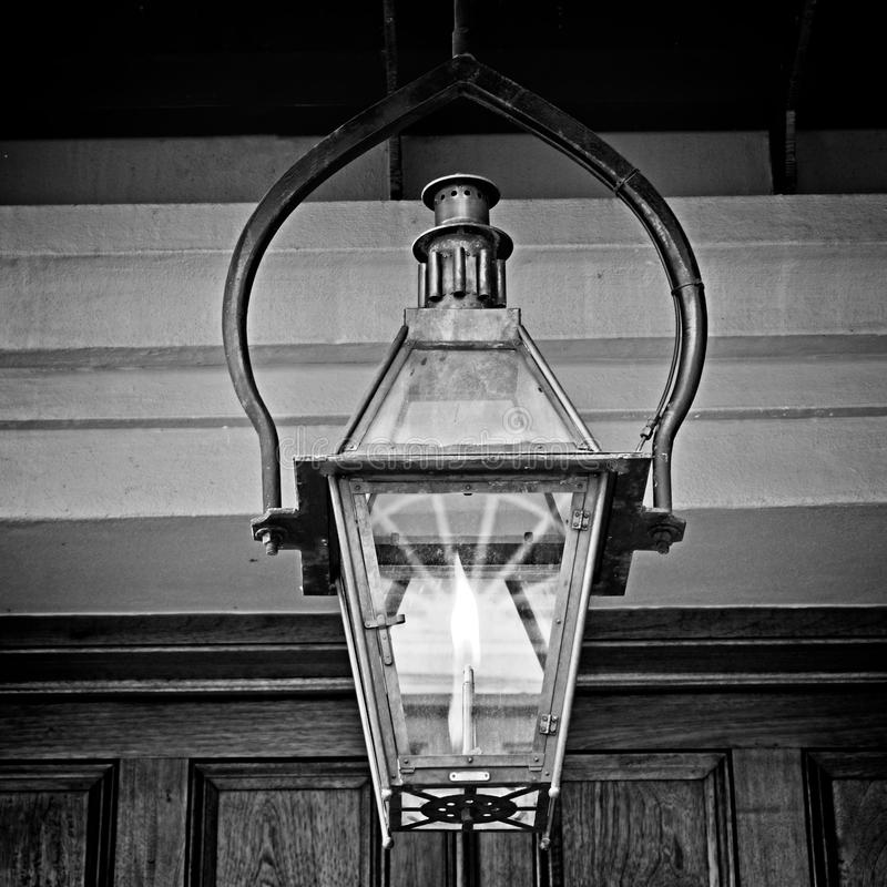 Light Fixture in the French Quarter 2 in B&W stock photo