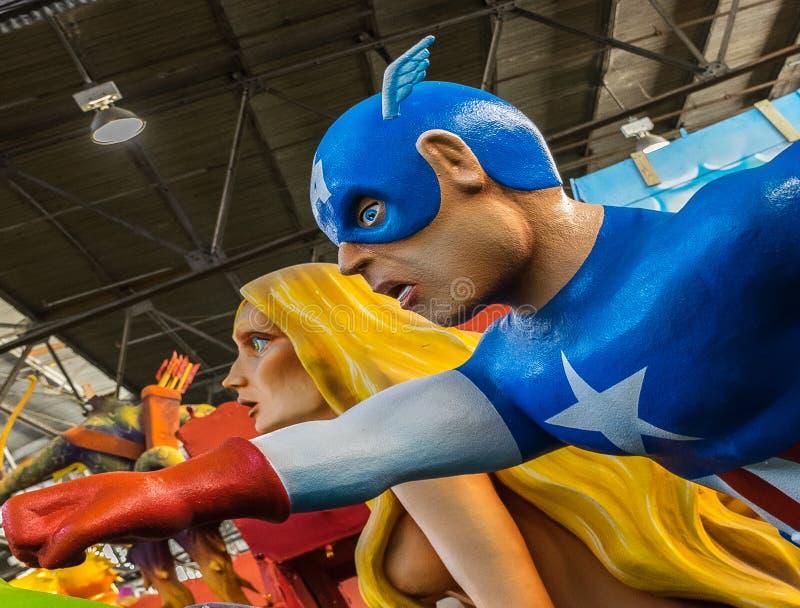 New Orleans Mardi Gras World - Captain America royalty free stock photos