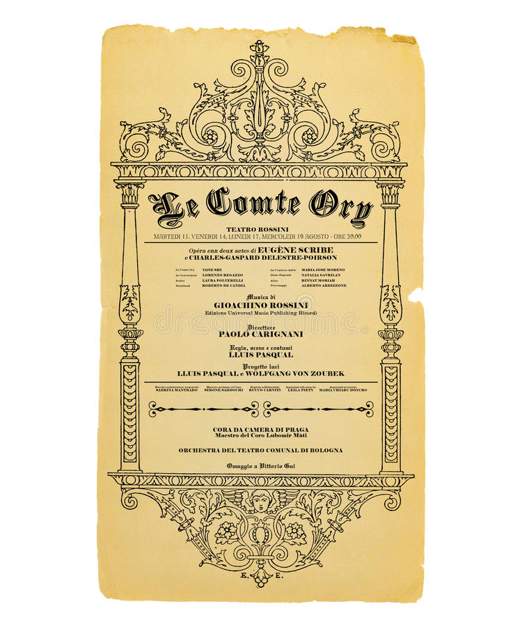 New Orleans Le Comte Ory Opera Flyer. Vintage Antique Style Opera Theater Flyer New Orleans in French stock image