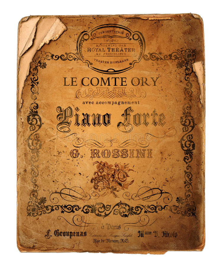 New Orleans Le Comte Ory Opera Flyer. Vintage Antique Style Opera Theater Flyer New Orleans in French stock images