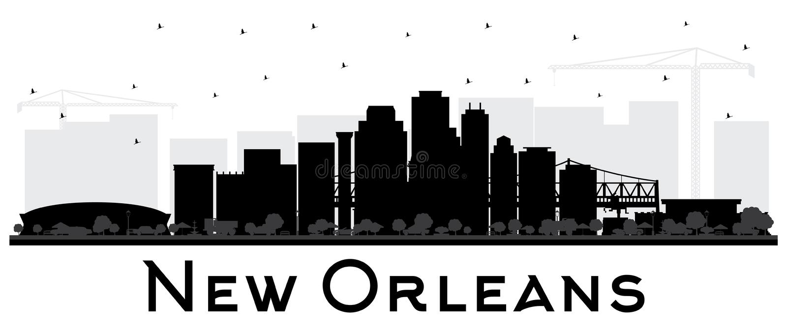 New Orleans Louisiana City Skyline Silhouette with Black Buildings Isolated on White. Vector Illustration. Business Travel and Tourism Concept with Modern vector illustration