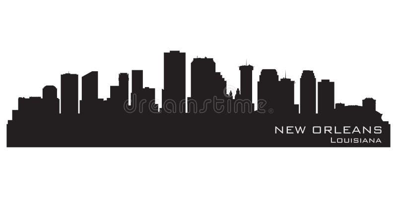 New Orleans Louisiana horisont Detaljerad vektorkontur vektor illustrationer