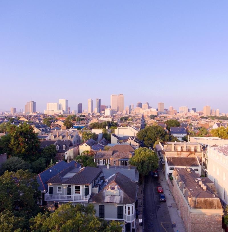 New Orleans Louisiana horisont på soluppgång royaltyfri foto