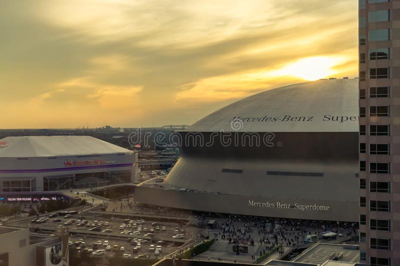 New Orleans Louisiana Skyline with Superdome and Arena stock image