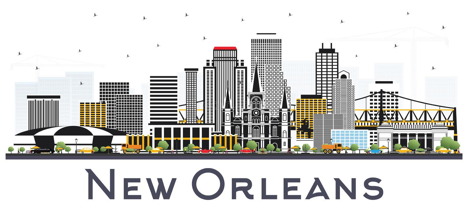 New Orleans Louisiana stadshorisont med Gray Buildings Isolated stock illustrationer