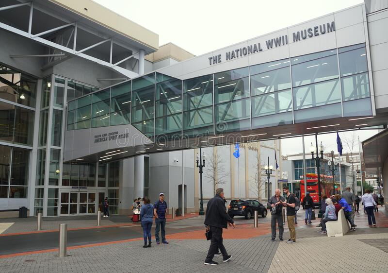 New Orleans, Louisiana, U.S.A - February 4, 2020 - The crowd near the entrance into The National World War II Museum royalty free stock image