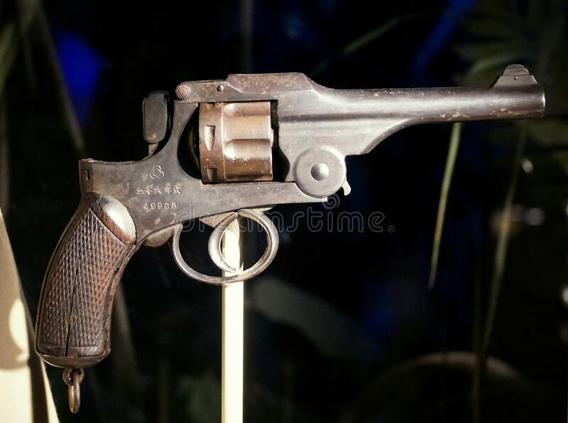New Orleans, Louisiana, U.S.A - February 5, 2020 - Japanese pistol and revolver used in World War II stock images