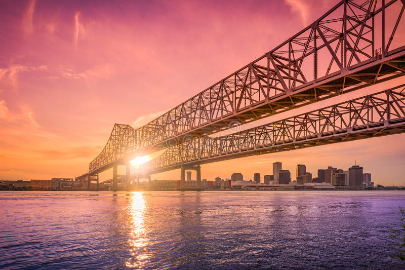 New Orleans, Louisiana, USA. At Crescent City Connection Bridge over the Mississippi River during sunset stock photo