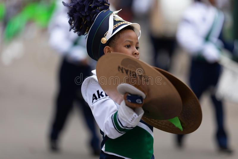 Mardi Gras Parade New Orleans. New Orleans, Louisiana, USA - February 23, 2019: Mardi Gras Parade, Members of Akili Academy performing at the parade stock images