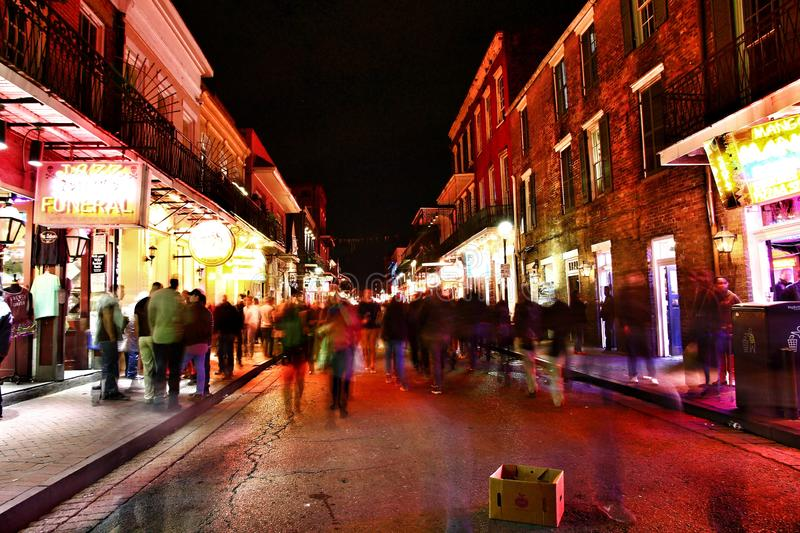 Pubs and bars with neon lights in the French Quarter, New Orleans Louisiana stock photo