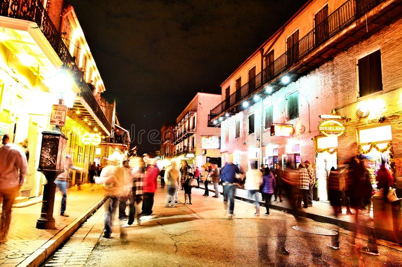 Pubs and bars with neon lights in the French Quarter, New Orleans Louisiana stock image