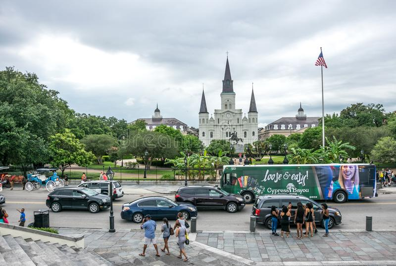 Jackson Square and St. Louis Cathedral. Tourist attraction of the French Quarter of New Orleans, Louisiana stock photo
