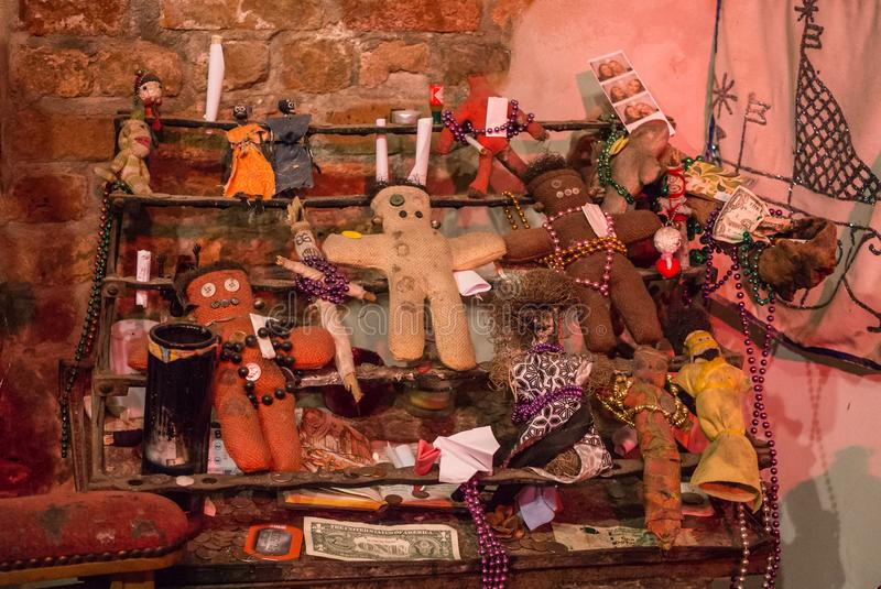 Ritual attributes of voodoo religion. Voodoo dolls and sacrifices. New Orleans, Louisiana, USA - June 24, 2017: Museum of the history of the voodoo cult in the royalty free stock image