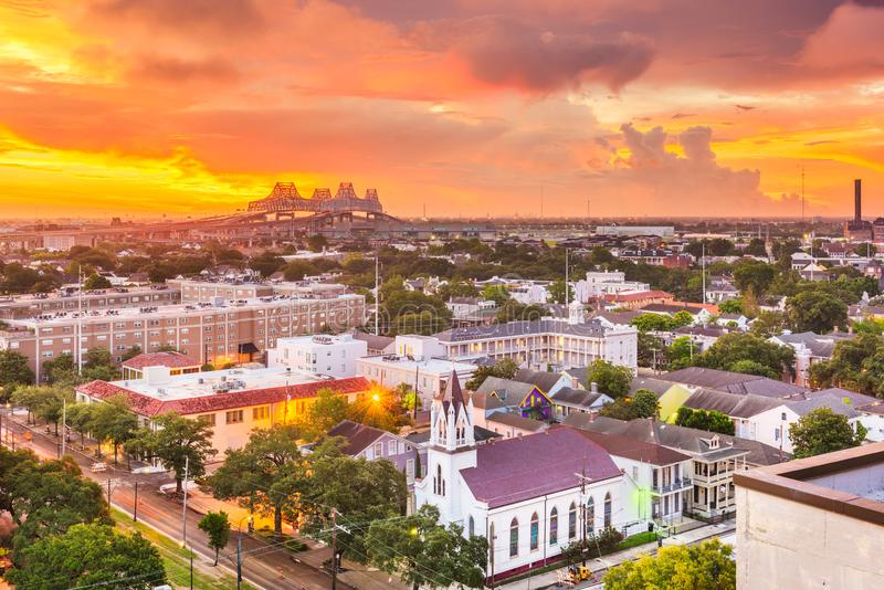 New Orleans, Louisiana, USA town skyline over the Garden District royalty free stock image
