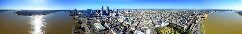 New Orleans, Luisiana Visión aérea panorámica asombrosa en la puesta del sol imagen de archivo libre de regalías