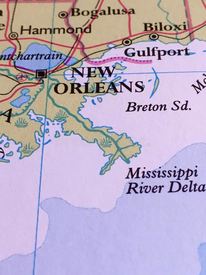 New Orleans Map. A close-up of a map showing New Orleans, Gulfport, Biloxi, Bogalusa, and Hammond Louisiana stock photography