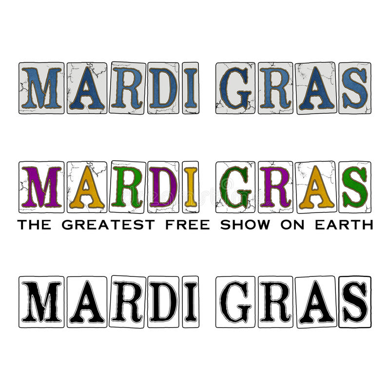 New Orleans Mardi Gras Carnival Season Design & typografi stock illustrationer