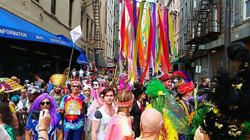 New Orleans Mardi Gras Crowd royalty-vrije stock foto's