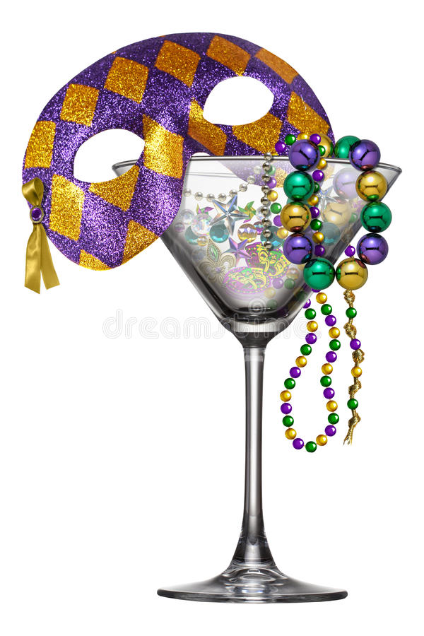 New Orleans Mardi Gras Martini Glass royaltyfri illustrationer